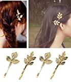 QTMY 4 PCS Metal Feather Leaves Hairpin Hair Clips Hair Accessories