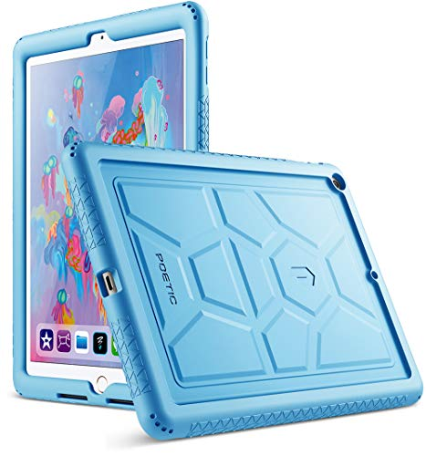 (Poetic TurtleSkin New iPad 9.7 Inch 2017/2018 Cover Case with Heavy Duty Protection Silicone and Sound-Amplification Feature for Apple iPad 9.7 2017 / iPad 9.7 2018 Blue)