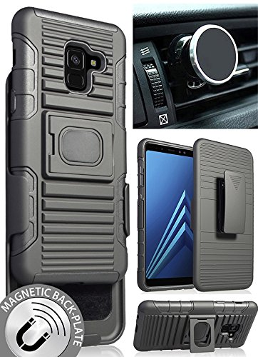 0770731fd Galaxy A8 2018 Case/Mount/Clip, Nakedcellphone Black Ring Grip Case Cover +