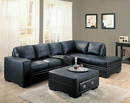 Amazing Amazon Com Sebastian Right Black Bonded Leather Sectional Machost Co Dining Chair Design Ideas Machostcouk