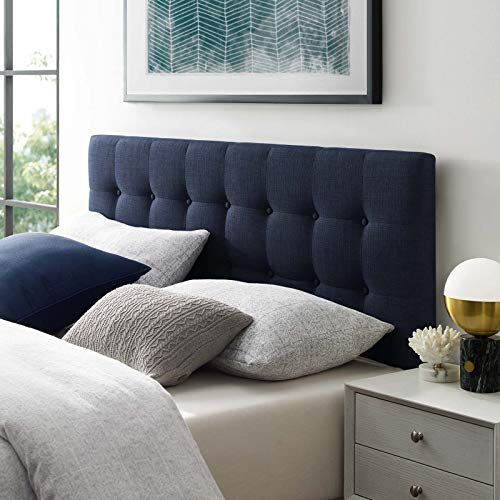 (Modway Emily Tufted Button Linen Fabric Upholstered Full Headboard in Navy )