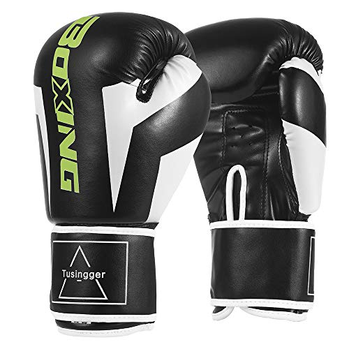 Tusingger Training Boxing Gloves Men & Women,Cool Style Boxing Gloves,Kickboxing Gloves,Muay Thai,Sparring Gloves,Heavy Bag Gloves for Boxing (Black, 12oz)