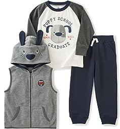 Kids Headquarters Little Boys\' Toddler 3 Pieces Hooded Vest Pants Set, Gray, 4T