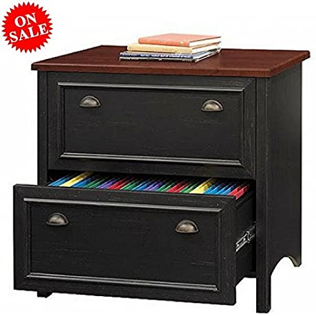 Filing Cabinet 2 Drawer Organizer Wood Black Home File And Document Storage Furniture EBook By Easy FunDeals