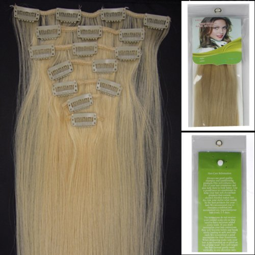 L-email 20inch 7pcs Straight Remy Clip in Real Human Hair Extensions #613 Bleach Blonde Personal Healthcare / Health Care