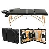 Abody Portable Massage Table 3 Fold Hardwood Frame Adjustable Spa Bed Tattoo Beauty Salon, 84''L, Black