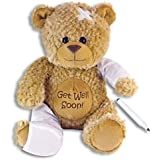 "15"" Plush GET WELL SOON Teddy Bear w/Cast for Autograph - Speedy Recovery GIFT for Hospitalized CHILD Adult - KEEPSAKE"