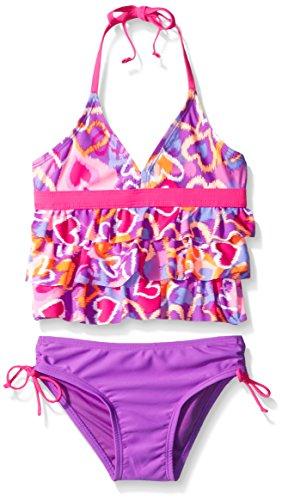 Breaking Waves Big Girls' Heart Breaker Tankini Swimsuit, Multi, 12 - Kid Wave Heart