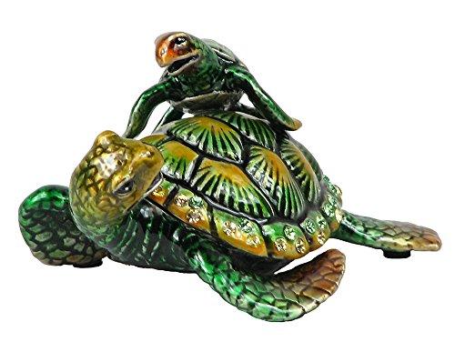 Frog Trinket Box Swarovski Crystals (Lovely Rucinni Turtle w/Baby Swarovski Crystal Trinket Box - Green)