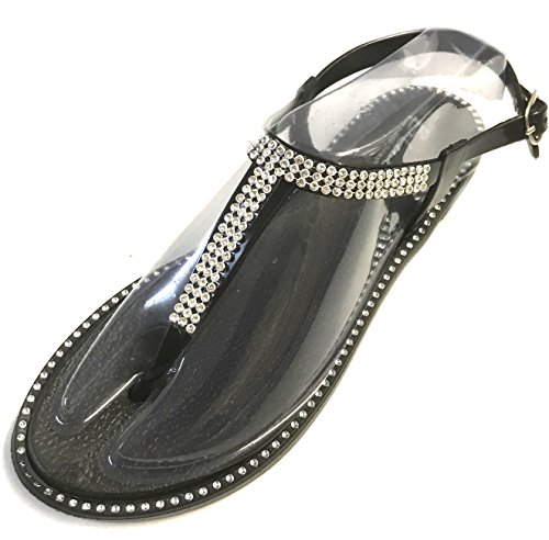 Thongs Star Strappy Womens Bay Black Flats Sandals Gladiator Roman Strap Shoes 6fRqBxn0f