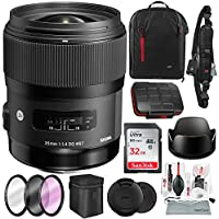 Sigma 35mm f/1.4 DG HSM Art Lens for Nikon DSLR Cameras with 32GB, Xpix Camera Cleaning Kit, and Deluxe Bundle