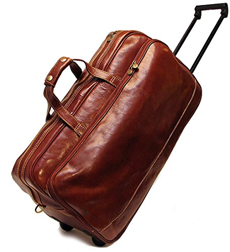 (Floto Unisex Custom Initials Personalization Large Milano Trolley Wheeled Luggage in Brown )