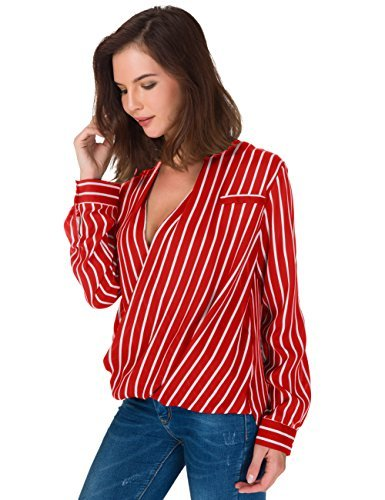 Eliacher Women's Casual Striped Chiffon Blouses Loose Wrap Front Surplice Long Sleeves Shirt