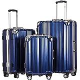 Coolife Luggage Aluminium Frame Suitcase 3 Piece Set with TSA Lock 100%PC (BLUE)