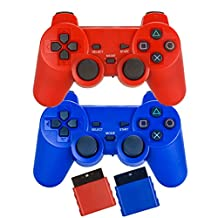 Bowink 2 Packs Wireless Gaming Controllers for Ps2 Double Shock - Red and Blue