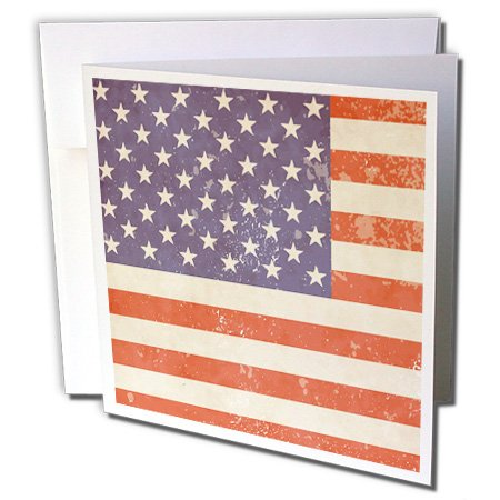- 3dRose USA American Flag grunge style - Greeting Cards, 6 x 6 inches, set of 12 (gc_162274_2)