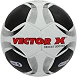 Vector X Street Soccer Rubber Moulded Football, Size 5 (White/Black)