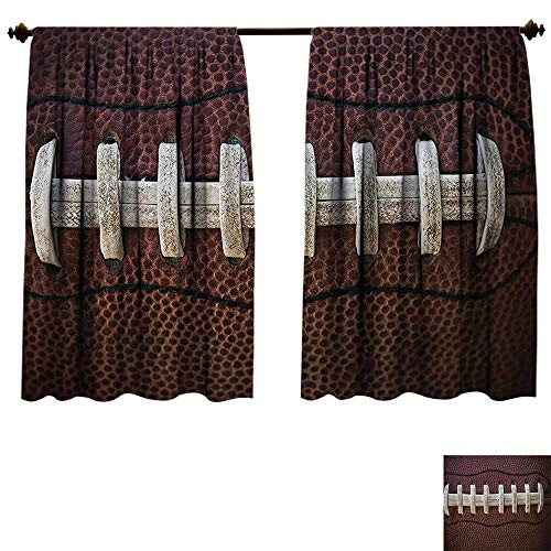 (Qianhe-HOME Thermal Insulating Blackout Curtain Sports Football Themed Fun Traditional Sport Close Up Photo Pattern Ivory Black Dark Brown Patterned Drape Glass Door (W55 x L39 -Inch 2 Panels))