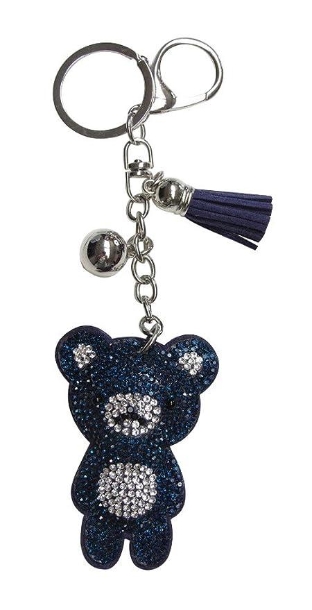 Joya bolsa, llavero pooh oso strass cristal azul y blanco ...