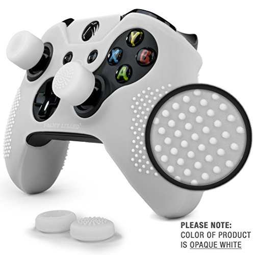 ParticleGrip STUDDED Skin Set for Xbox One (& One S) by Foamy Lizard – PATENT PENDING Silicone Skin Cover Antislip Studs PLUS matching set of 4 AceShot Analog Thumbgrips (White)