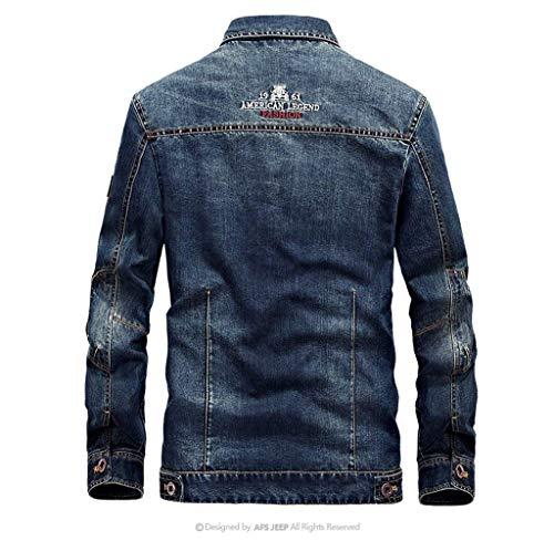 In Maniche 3d Uomo Fashion Cappotto Da Taglie Hx Poliestere A Lunghe Comode Denim Blue Di Giacca Abiti Militare Interno Jeans qwItRCCZ