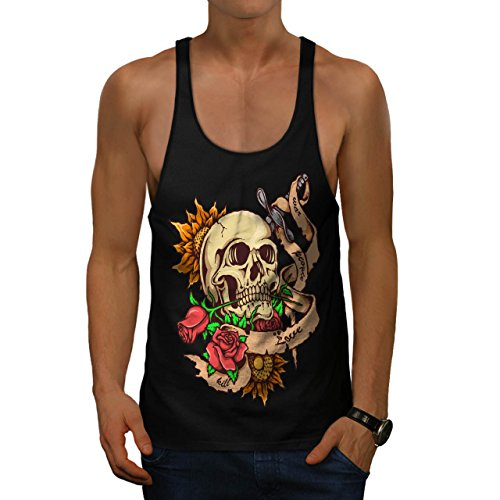 [Dead Head Rose Knife Stab Men M Gym Tank Top | Wellcoda] (Halloween Us Dont Metal With Evil)