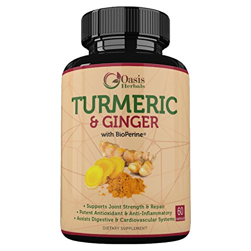 Turmeric Curcumin Supplements | Turmeric Capsules | Tumeric with Black Pepper Capsules | Ginger Capsules | Curcumin with Bioperine Anti Inflammatory Supplement | Oasis Herbals 95% Curcuminoids Vegan