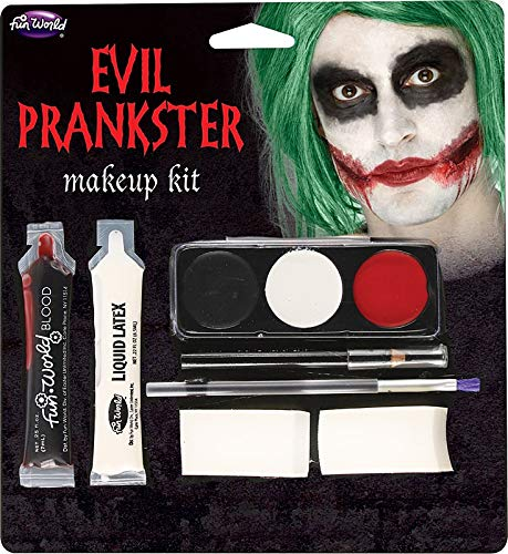 Fun World Unisex-Adult's Halloween Evil Prankster/Joker Make Up Kit, Multi, standard