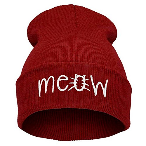 (Slouchy Red Beanie Winter Knit Skull Hat for Women Men with Meow)