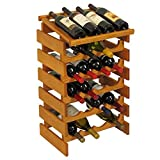 24-Bottles Solid Oak Wine Rack with Display Top