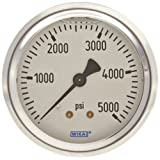 WIKA 9767274 Industrial Pressure Gauge, Liquid/Refillable, Copper Alloy Wetted Parts, 2-1/2