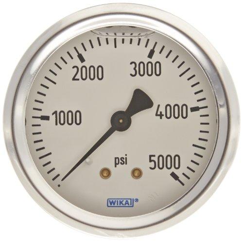 5000 Psi Pressure Gauge (WIKA 9767274 Industrial Pressure Gauge, Liquid/Refillable, Copper Alloy Wetted Parts, 2-1/2
