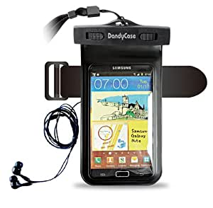 """DandyCase Waterproof Case with Underwater Earphones for Apple iPhone 5, Galaxy S4, HTC One, iPod Touch 5 - Also fits other Large Smartphones up to 5.3"""" Including Galaxy S3, HTC One X/X+, Droid RAZR/MAXX, Nexus 4, EVO 4G LTE, Droid Incredible, LG Optimus G, Nokia Lumia, Droid DNA, Windows Phone 8X - IPX8 Certified to 100 Feet [Retail Packaging by DandyCase]"""