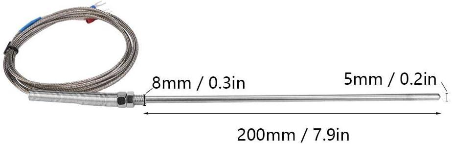 1M M8 Thread Type K 0-400℃ High Temperature Thermocouple 200mm Probe Temperature Sensor Wire