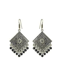 Sansar India Dangler Earrings for Women (Black) (413)