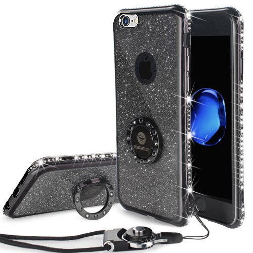 Cute iPhone 6 Plus, 6s Plus Case Girls with Stand, Bling Diamond Rhinestone Bumper with Grip Ring Kickstand