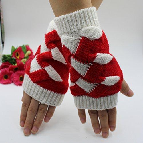 Tricoté Jointif Acvip Rouge Couleur Mitaine Carreaux Chaud Motif Gant Femme 8wqw6T
