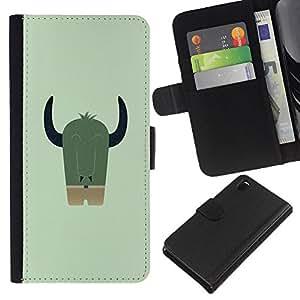 LECELL--Cuero de la tarjeta la carpeta del tirón Smartphone Slots Protección Holder For Sony Xperia Z3 D6603 -- Dracónido LINDO --