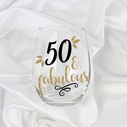 50 and fabulous gifts for women stemless wine glass 50th birthday gift for her 0043 Anniversary Keepsake Glass
