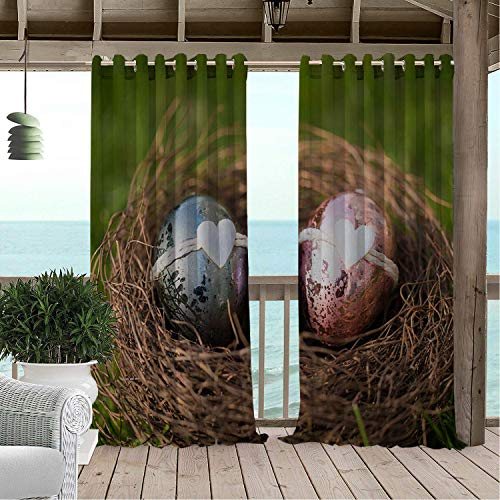 Linhomedecor Gazebo Waterproof Curtains Happy Easter Day Love Easter Eggs The Nest 9 Porch Grommets Adjustable Curtain 72 by 108 inch