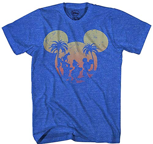 Disney Mickey Mouse Sunset Silhouette T-shirt (Small, Heather Royal)