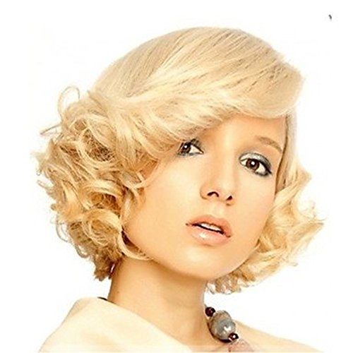 Short Blonde Natural Sexy Curly Hair Wig for Women Marilyn Monroe Hair Full Wigs Holloween Party Hairstyle Natural Wig (Sexy Wig Blonde Marilyn)