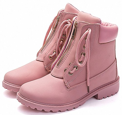 Booties Lining Short Women's ZHENZHONG Ankle Combat Pink Lace Snow Fur up Boots Zipped 1PawqAXg