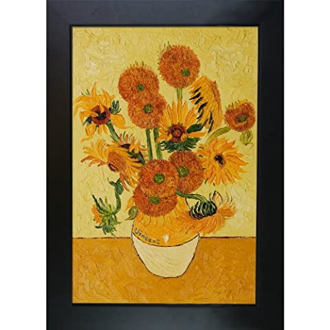 overstockArt Vase with Fifteen Sunflowers Hand Painted Oil Canvas Art by Van Gogh