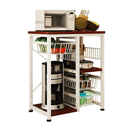 Kitchen shelf microwave oven rack flooring kitchen supplies multi-layer rack multi-function electrical storage storage rack (Color : White, Size : 604077cm)