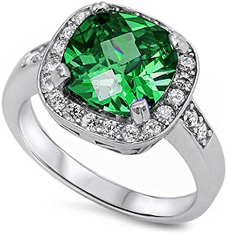 Cushion Cut Simulated Emerald Halo Ring .925 Sterling Silver Ring Sizes 4-10