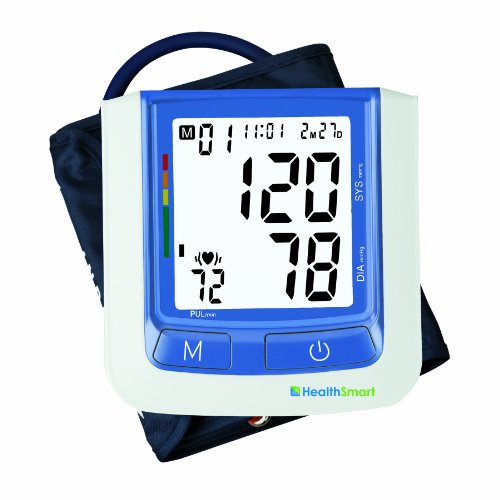 HealthSmart Select Clinically Accurate Automatic Digital Upper Arm Blood Pressure Monitor with Backlit LCD Display, 2-Person Memory and Standard Arm Cuff, 120-Reading MemoryBlue