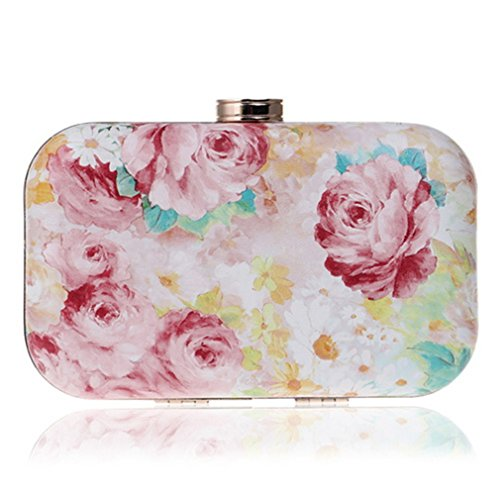 Printed Evening Floral Shoulder Bags Lady Evening Appliques Clutch YM1066pink Small Wedding Metal Bags Fashion Women Pu Party Chain rr1wqZ
