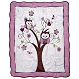 Baby's First by Nemcor Plum Owl Crib Bedding Set, 4 Piece