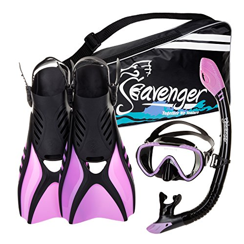Seavenger Diving Snorkel Set - (Black Silicon/Purple) - S